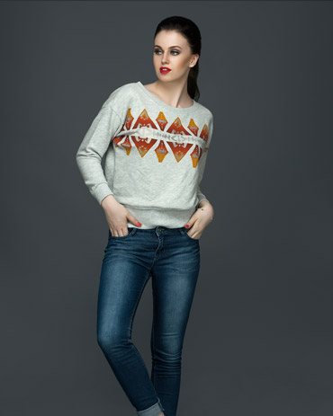 Sweatshirt With Burnout Print